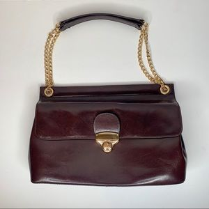 Hobo   Brown Leather Purse   Gold Chain Strap